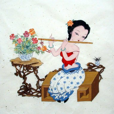 Beautiful lady, Flute - Chinese Painting