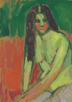 Half-nude figure with long hair sitting bent