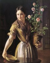 A Girl With A Pot Of Roses 1850