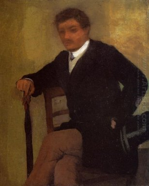 seated young man in a jacket with an umbrella