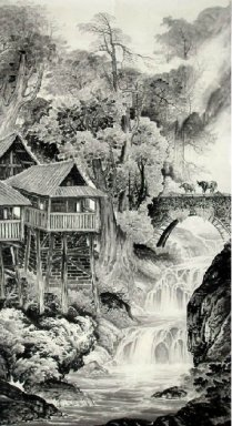Landscape with buildings - Chinese Painting