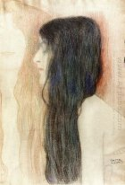 Girl With Long Hair With A Sketch For Nude Veritas 1899