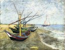 Fishing Boats On The Beach At Les Saintes Maries De La Mer 1888