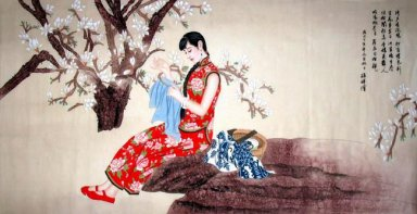 Sewing girl - Fengyi - Chinese Painting