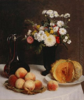 Still Life With A Carafe Flowers And Fruit