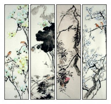 Birds&Flowers - FourInOne - Chinese Painting