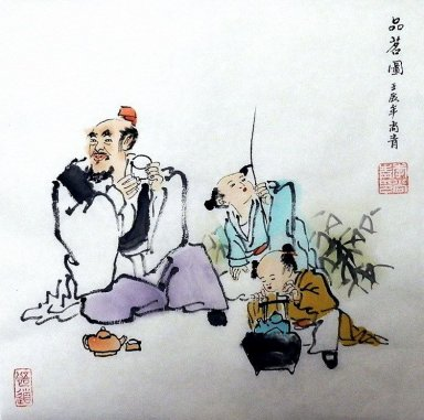 Gao Shi, drink tea - Chinese painting
