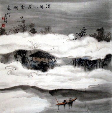 Boat, Hut - Chinese Painting