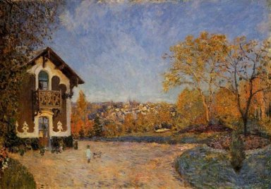 view of marly le roi from house at coeur colant 1876