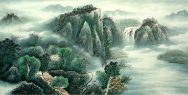 Landscape with river,cloud - Chinese Painting