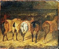 Five Horses Seen From Behind With Croupes In A Stable 1822