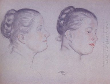 Two Portraits Of Annushka 1918