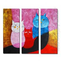 Tangan-Dicat Oil Painting Hewan Oversized Lebar - Set 3