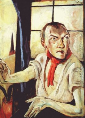 Self Portrait With Red Scarf 1917