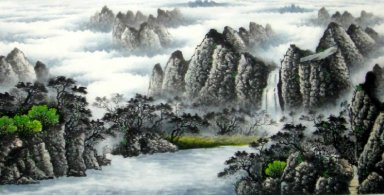 Pines and Waterfall - Chinese Painting