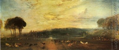 The Lake, Petworth Sunset, a Stag Drinking, c.1829
