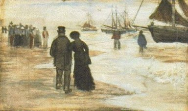 Beach With People Walking And Boats 1882