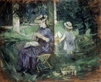 Woman And Child In A Garden 1884