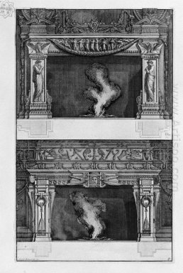 Two Fireplaces Overlapping The Support Auletridi With Two Sides