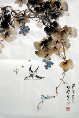 Birds&Grapes - Chinese Painting