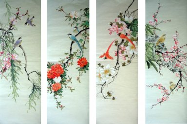Birds&Flowers(Four Screens) - Chinese Painting