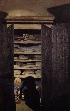 Woman Searching Through A Cupboard 1901
