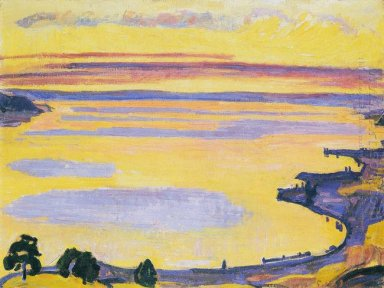 Sunset On Lake Geneva From The Caux 1917