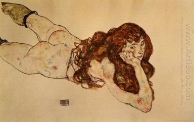 female nude lying on her stomach 1917