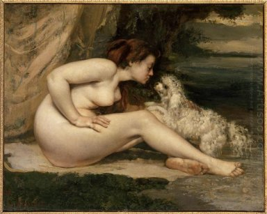 Female Nude With A Dog Portrait Of Leotine Renaude