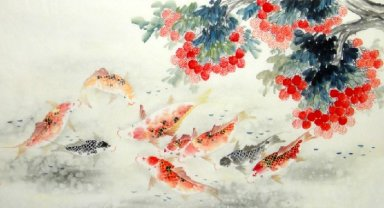 Fish-Bayberry - Chinese Painting