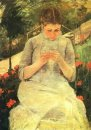 Young Woman Sewing in the garden, c.1880-82