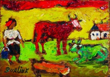 Peasant Woman With Red And Green Cows