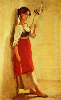 Young Italian Woman From Papigno With Her Spindle