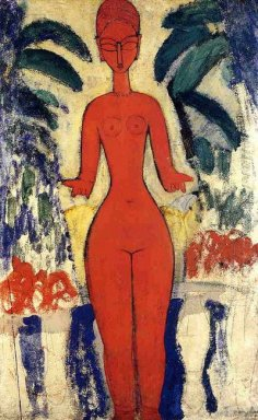 standing nude with garden background 1913