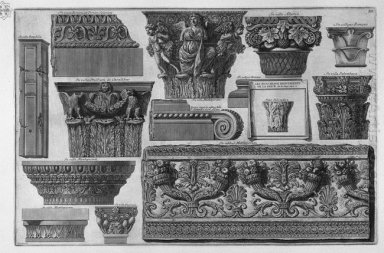 Several Capitals And A Frieze Of Roman Villas
