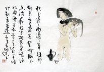 Poetry-The combinatie van kalligrafie en figuur - Chinese Lak
