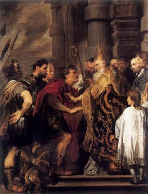 emperor theodosius forbidden by st ambrose to enter milan cathed