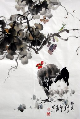 Chicken&Grapes - Chinese Painting