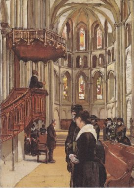 Prayer In The Saint Pierre Cathedral In Geneva 1882