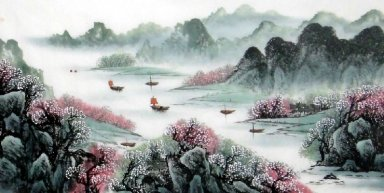 Boats, Plum flowers - Chinese Painting