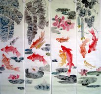 Fish(Four Screens) - Chinese painting