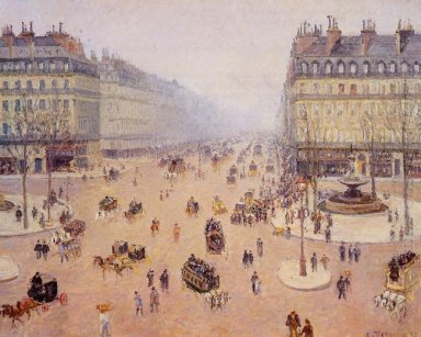 avenue de l opera place du thretre francais misty weather 1898