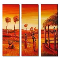 Hand-painted Oil Painting People Oversized Square - Set of 3