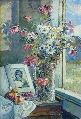 Vase With Flowers And Book By The Window 1954
