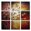 Hand-painted Floral Oil Painting - Set of 9
