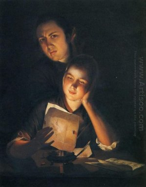 A Girl Reading A Letter By Candlelight With A Young Man Peering