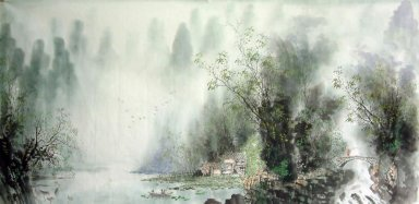 Tree, farmhouse, river - Chinese Painting