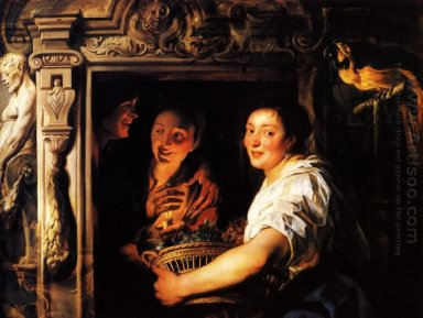 Servant With A Fruit Basket And A Pair Of Lovers