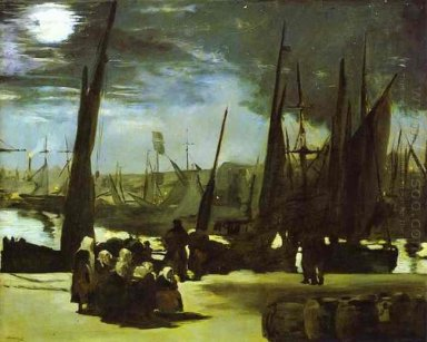moonlight on boulogne harbour 1868