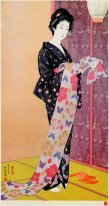 Young Woman in Summer Kimono